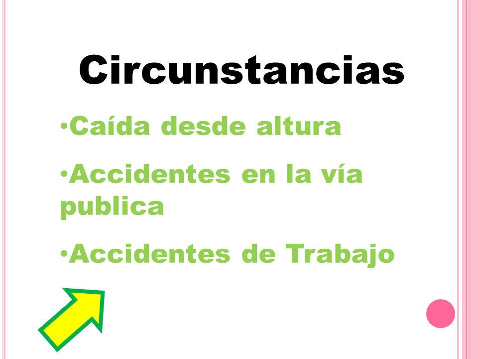 Circunstancias Caída desde altura Accidentes en la vía publica