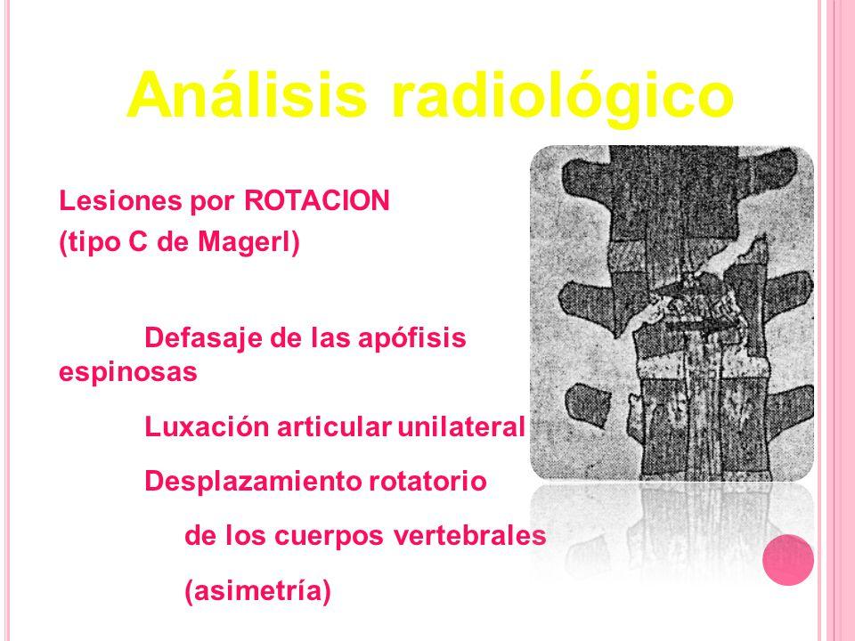 Análisis radiológico Lesiones por ROTACION (tipo C de Magerl)