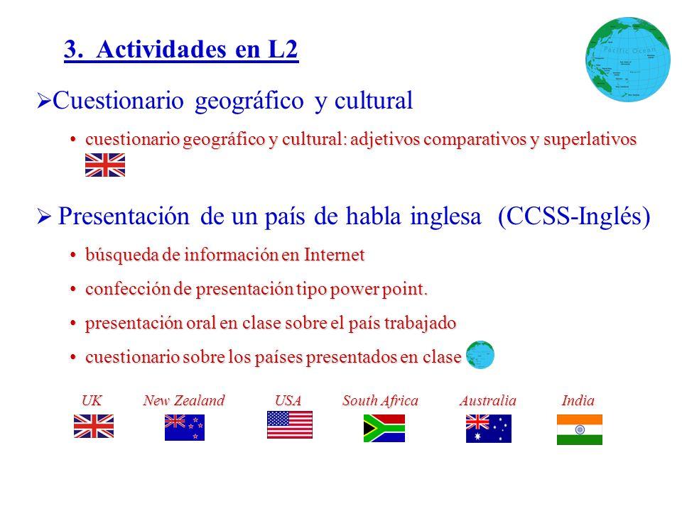 3. Actividades en L2 Cuestionario geográfico y cultural