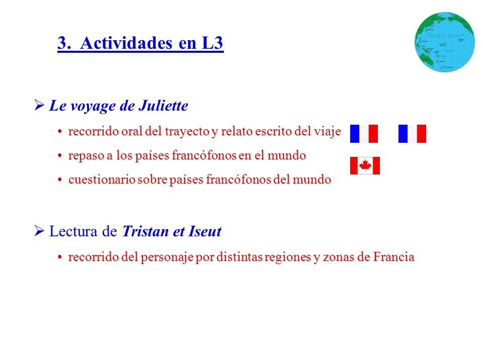 3. Actividades en L3 Le voyage de Juliette Lectura de Tristan et Iseut