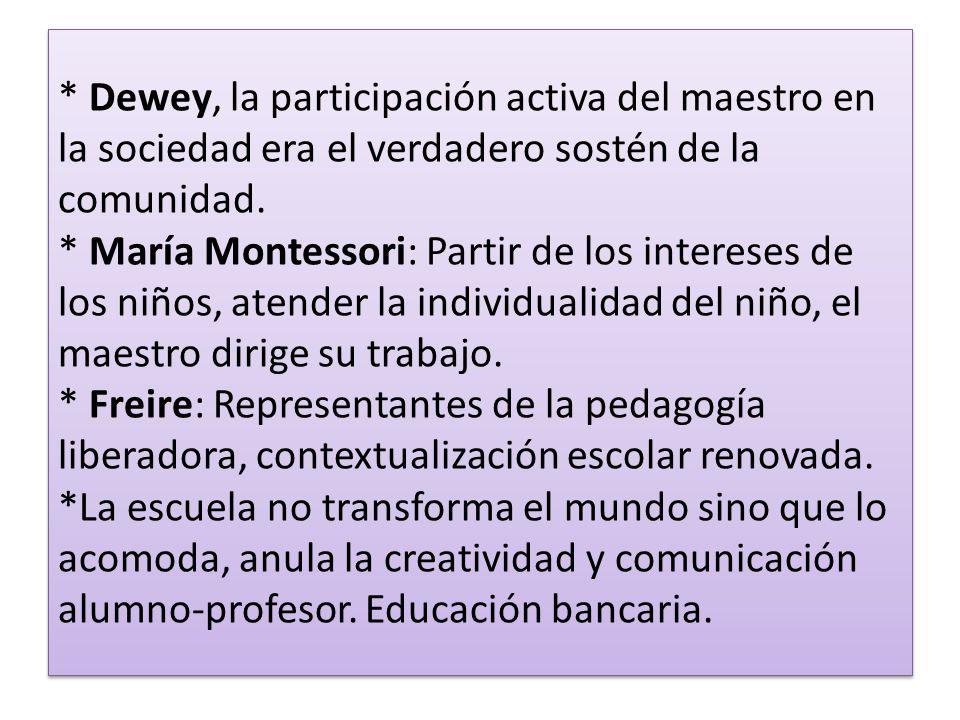 * Dewey, la participación activa del maestro en la sociedad era el verdadero sostén de la comunidad.