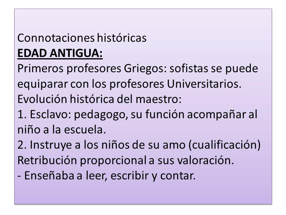 Connotaciones históricas EDAD ANTIGUA: Primeros profesores Griegos: sofistas se puede equiparar con los profesores Universitarios.