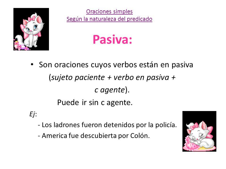 Pasiva: Son oraciones cuyos verbos están en pasiva