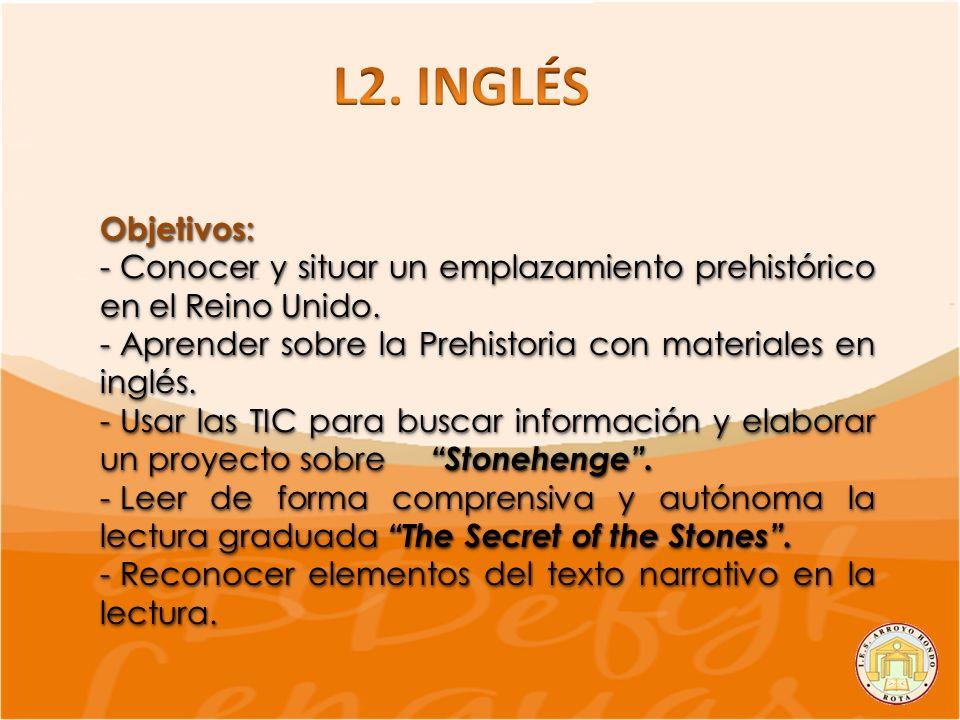 L2. INGLÉS Objetivos: Conocer y situar un emplazamiento prehistórico en el Reino Unido. Aprender sobre la Prehistoria con materiales en inglés.