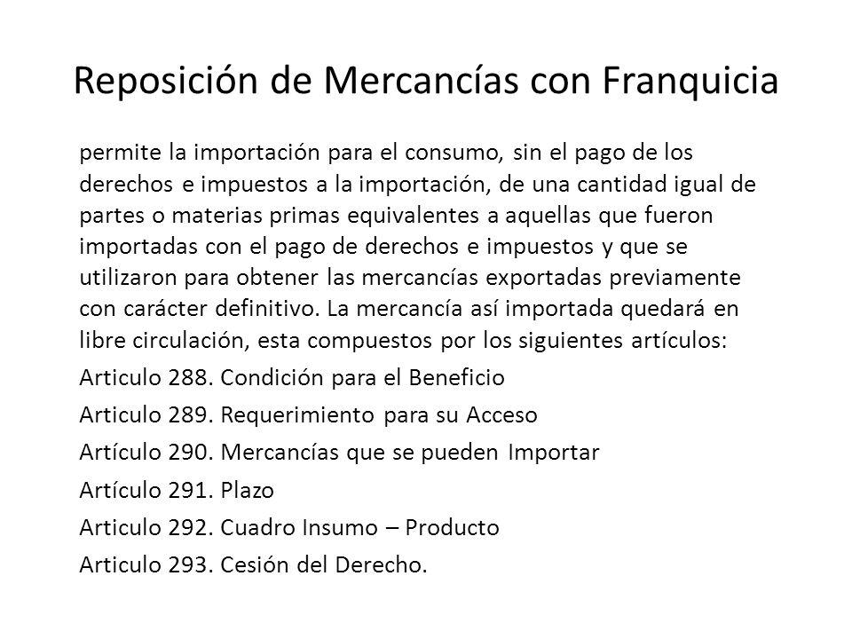 Reposición de Mercancías con Franquicia