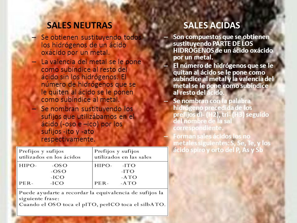 SALES NEUTRAS SALES ACIDAS