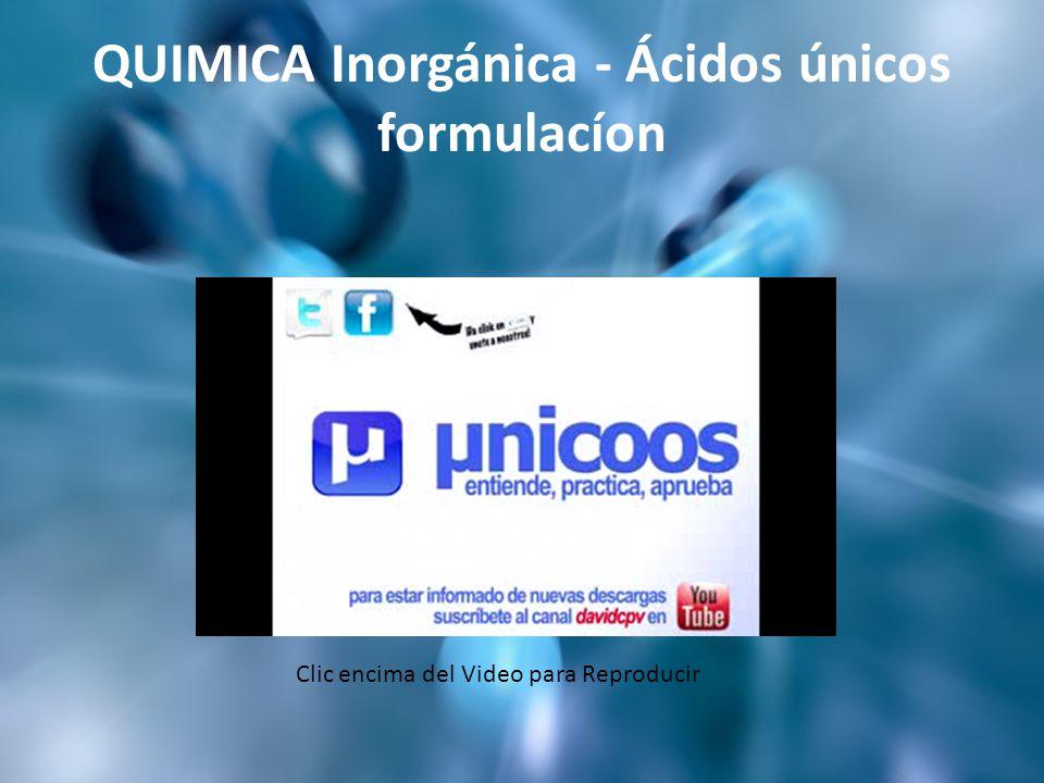 QUIMICA Inorgánica - Ácidos únicos formulacíon