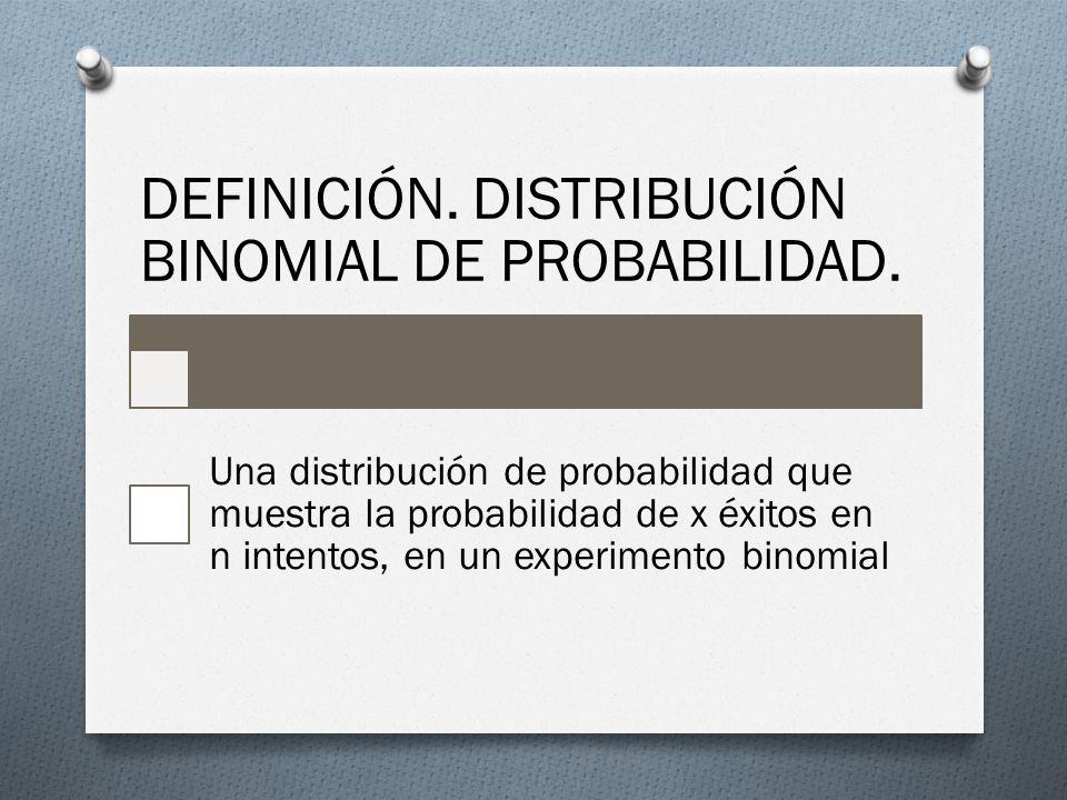 DEFINICIÓN. DISTRIBUCIÓN BINOMIAL DE PROBABILIDAD.