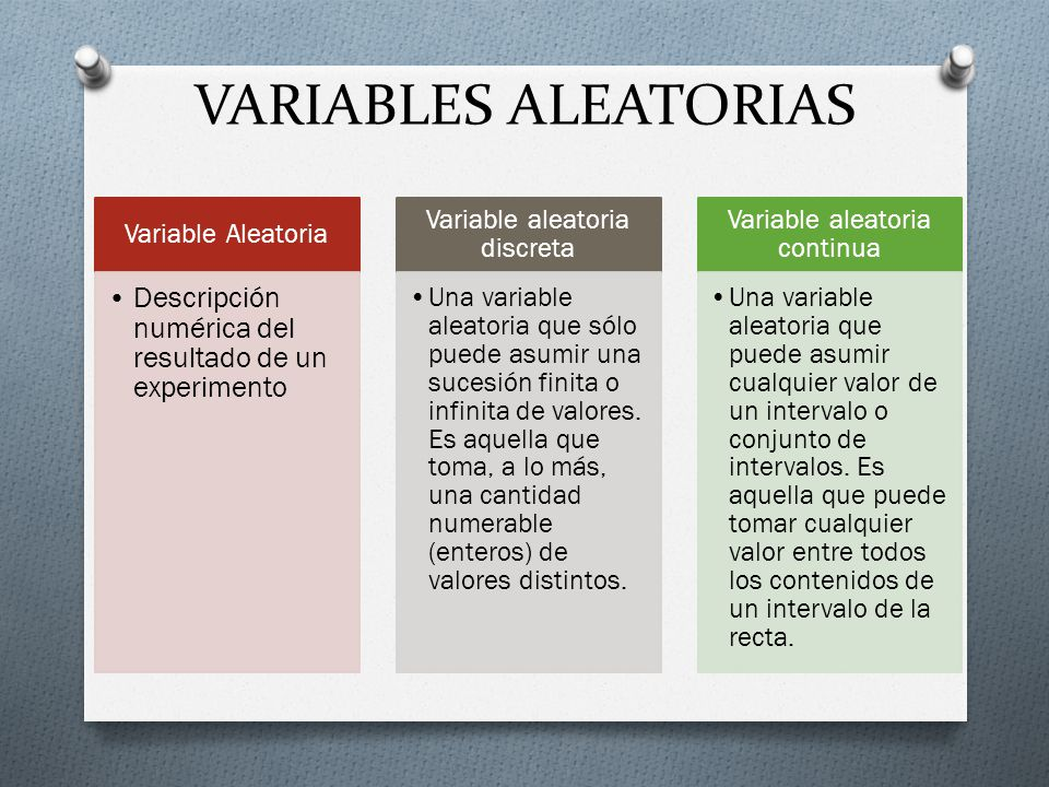 VARIABLES ALEATORIAS Variable Aleatoria. Descripción numérica del resultado de un experimento. Variable aleatoria discreta.