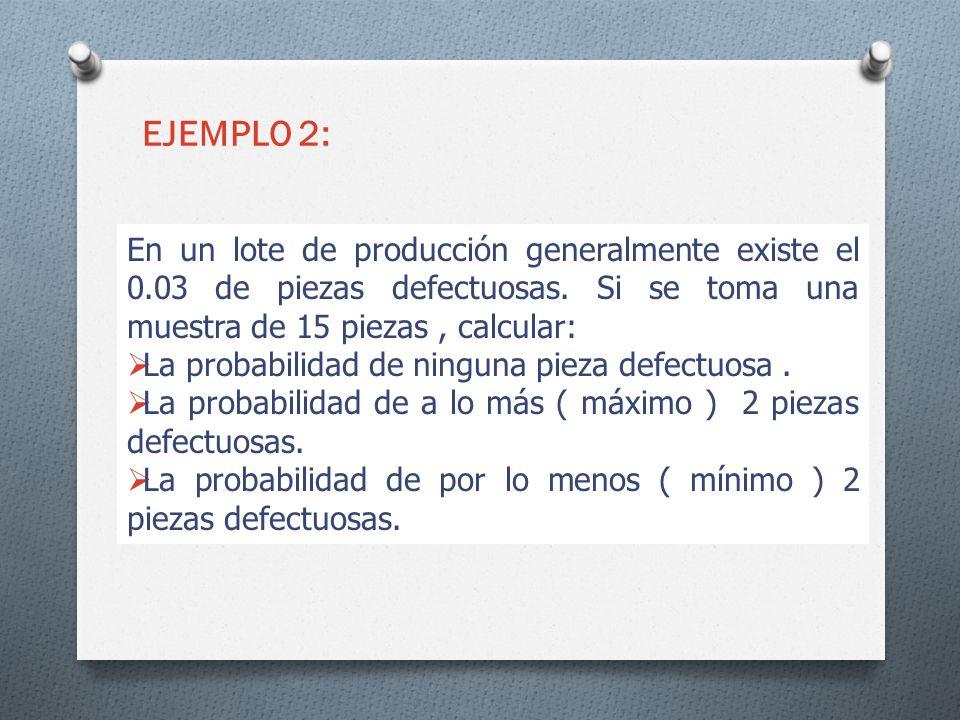EJEMPLO 2: En un lote de producción generalmente existe el 0.03 de piezas defectuosas. Si se toma una muestra de 15 piezas , calcular: