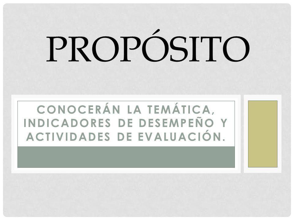 PROPÓSITO CONOCERÁN LA TEMÁTICA, INDICADORES DE DESEMPEÑO Y ACTIVIDADES DE EVALUACIÓN.