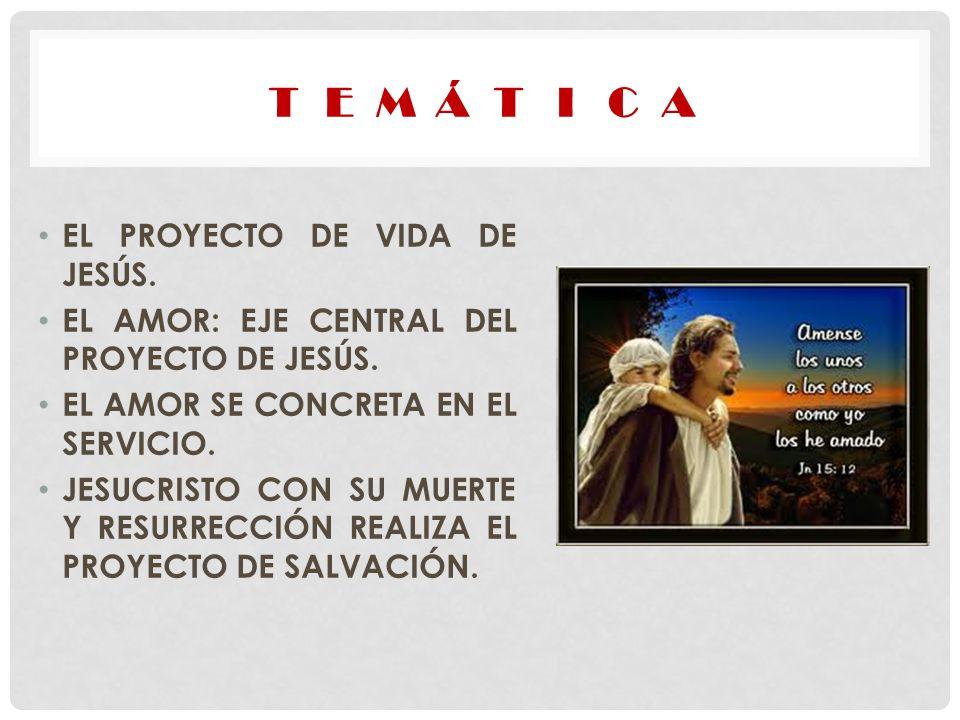 T E M Á T I C A EL PROYECTO DE VIDA DE JESÚS.
