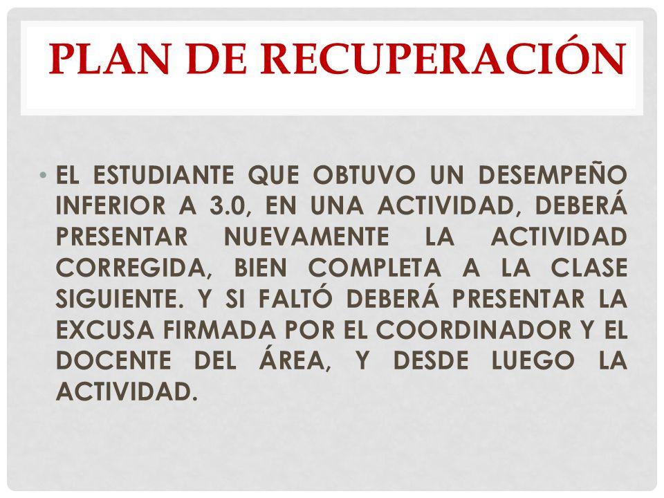 PLAN DE RECUPERACIÓN
