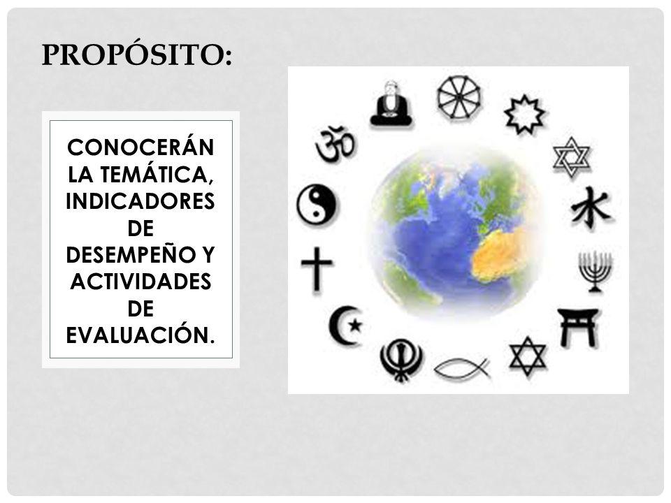 PROPÓSITO: CONOCERÁN LA TEMÁTICA, INDICADORES DE DESEMPEÑO Y ACTIVIDADES DE EVALUACIÓN.