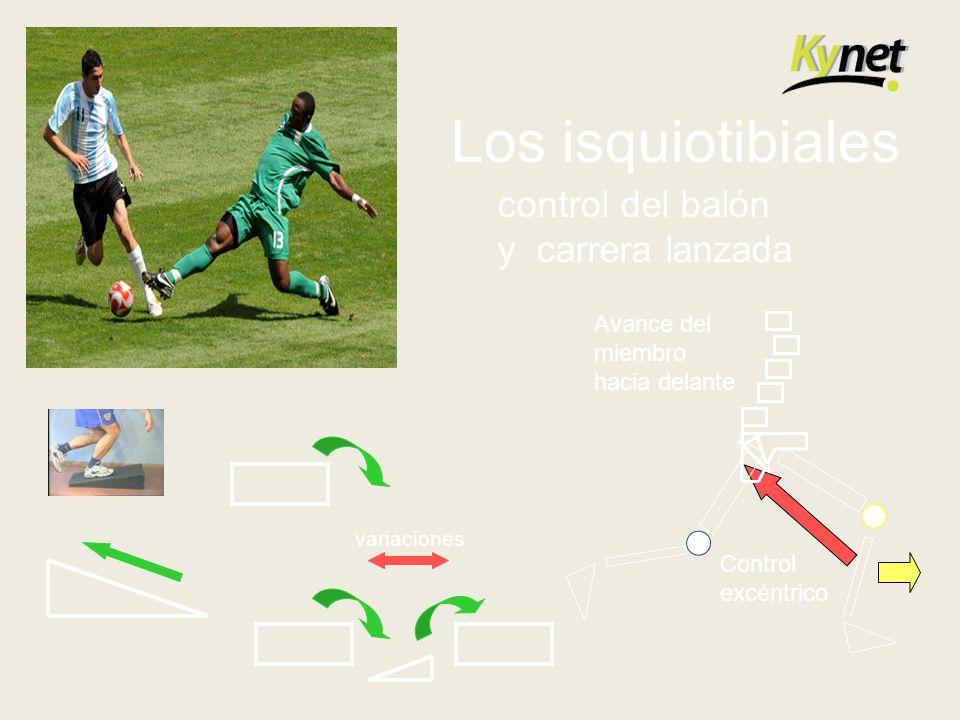 Los isquiotibiales control del balón y carrera lanzada Avance del
