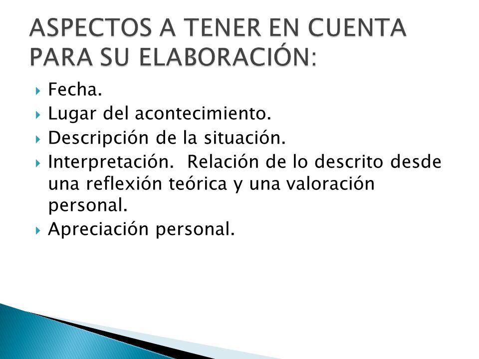 ASPECTOS A TENER EN CUENTA PARA SU ELABORACIÓN: