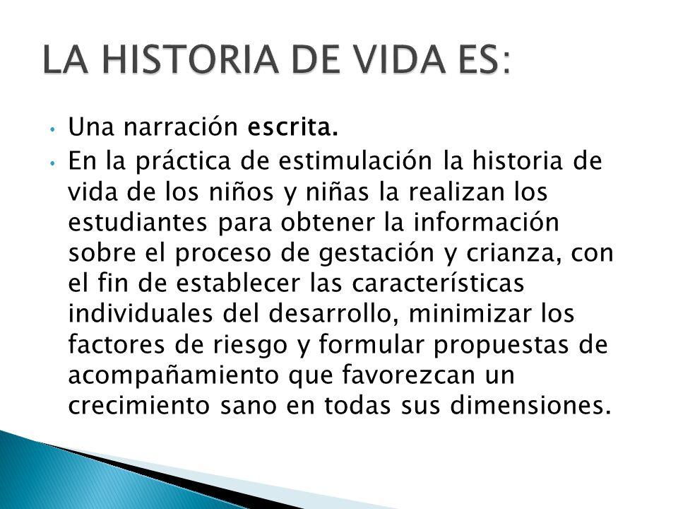 LA HISTORIA DE VIDA ES: Una narración escrita.
