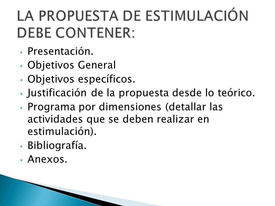 LA PROPUESTA DE ESTIMULACIÓN DEBE CONTENER: