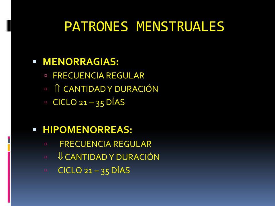 PATRONES MENSTRUALES MENORRAGIAS: HIPOMENORREAS: FRECUENCIA REGULAR