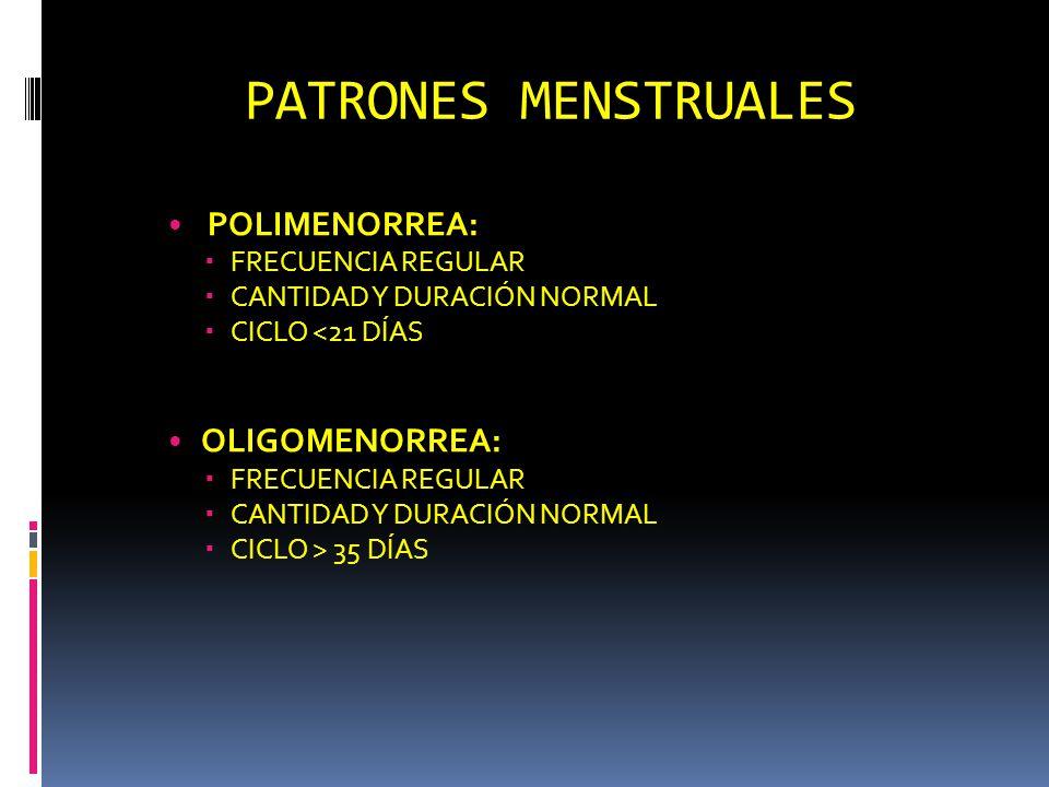 PATRONES MENSTRUALES POLIMENORREA: OLIGOMENORREA: FRECUENCIA REGULAR