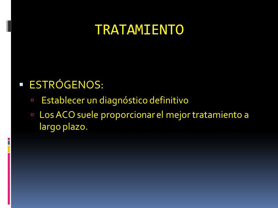 TRATAMIENTO ESTRÓGENOS: Establecer un diagnóstico definitivo