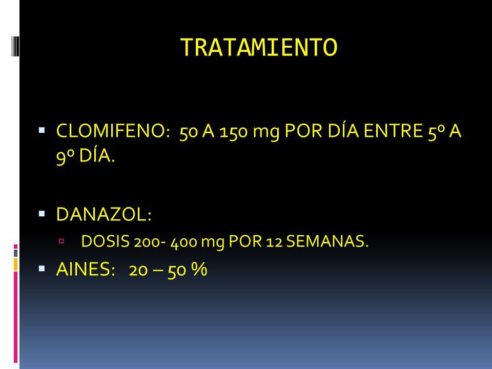 TRATAMIENTO CLOMIFENO: 50 A 150 mg POR DÍA ENTRE 5º A 9º DÍA. DANAZOL: