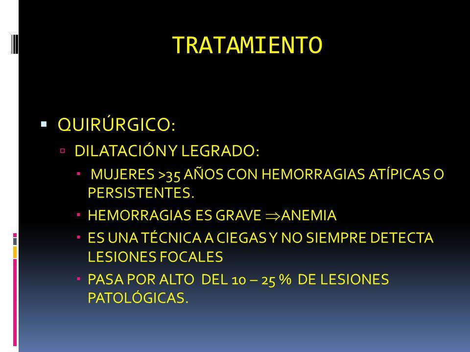 TRATAMIENTO QUIRÚRGICO: DILATACIÓN Y LEGRADO: