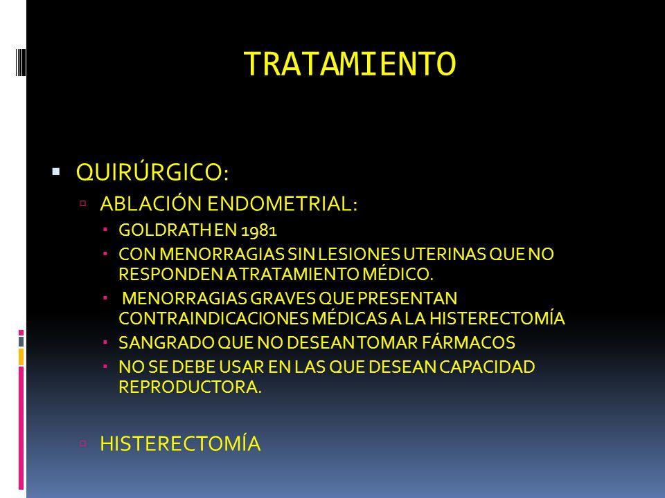 TRATAMIENTO QUIRÚRGICO: ABLACIÓN ENDOMETRIAL: HISTERECTOMÍA