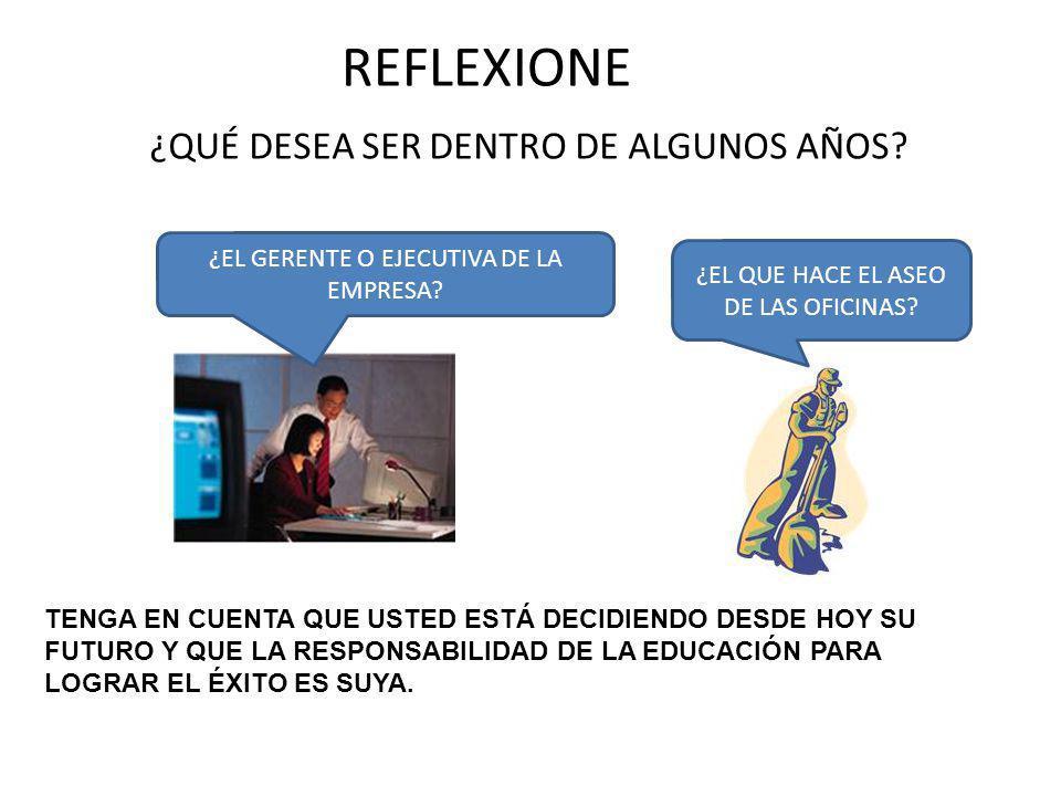 REFLEXIONE ¿QUÉ DESEA SER DENTRO DE ALGUNOS AÑOS