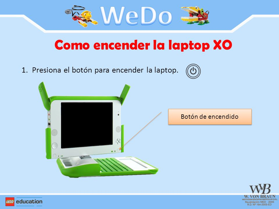 Como encender la laptop XO