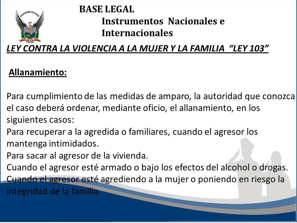 BASE LEGAL Instrumentos Nacionales e Internacionales. LEY CONTRA LA VIOLENCIA A LA MUJER Y LA FAMILIA LEY 103