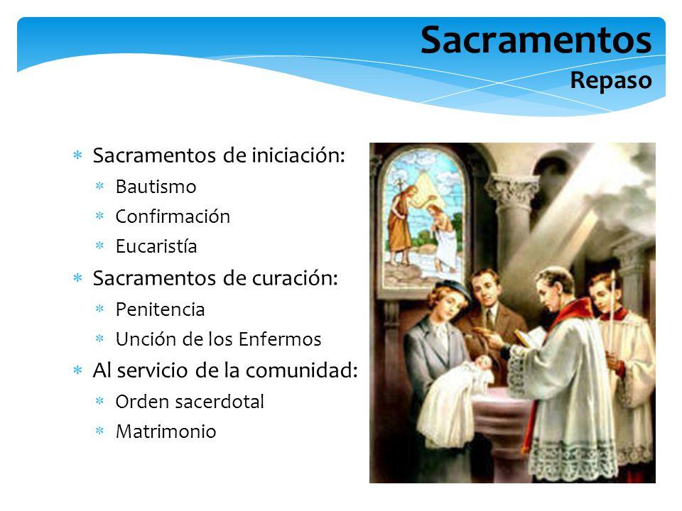 Sacramentos Repaso Sacramentos de iniciación: Sacramentos de curación: