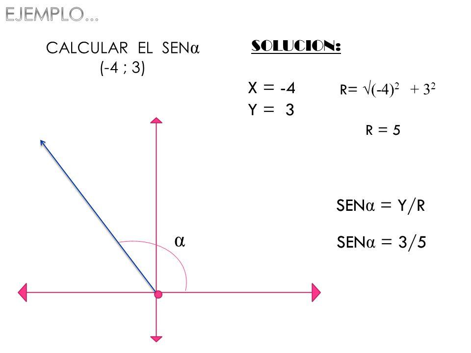 α EJEMPLO... X = -4 Y = 3 SENα = Y/R SENα = 3/5 CALCULAR EL SENα
