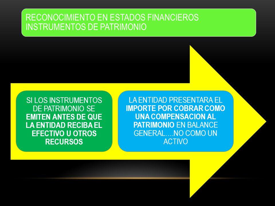 RECONOCIMIENTO EN ESTADOS FINANCIEROS INSTRUMENTOS DE PATRIMONIO