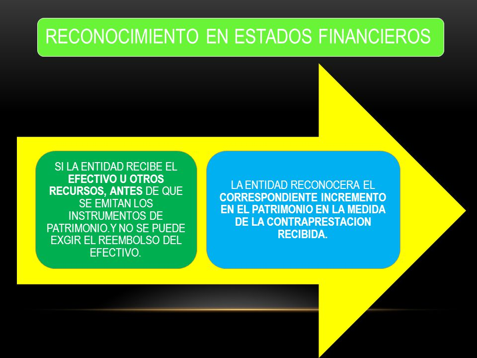 RECONOCIMIENTO EN ESTADOS FINANCIEROS