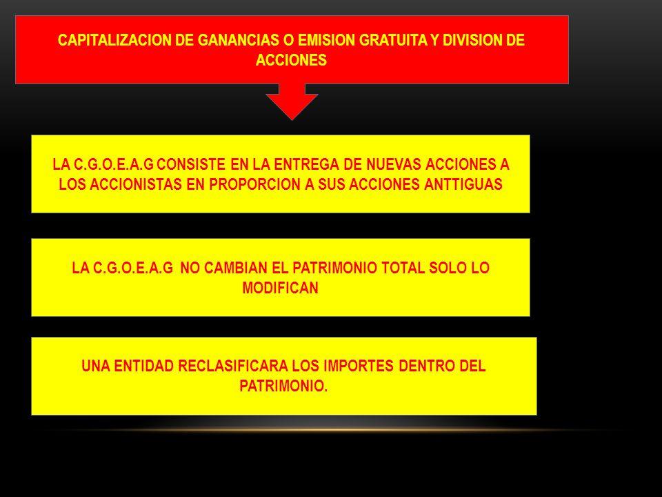 CAPITALIZACION DE GANANCIAS O EMISION GRATUITA Y DIVISION DE ACCIONES