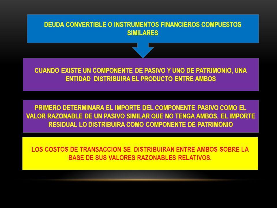 DEUDA CONVERTIBLE O INSTRUMENTOS FINANCIEROS COMPUESTOS SIMILARES