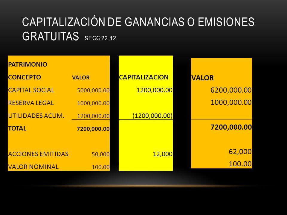 Capitalización de ganancias o emisiones gratuitas secc 22.12