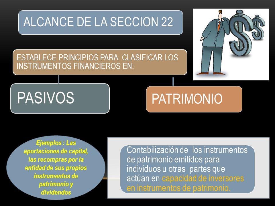 PASIVOS PATRIMONIO ALCANCE DE LA SECCION 22