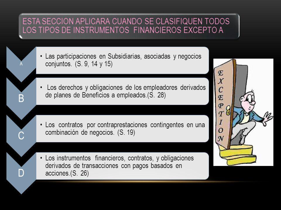 ESTA SECCION APLICARA CUANDO SE CLASIFIQUEN TODOS LOS TIPOS DE INSTRUMENTOS FINANCIEROS EXCEPTO A