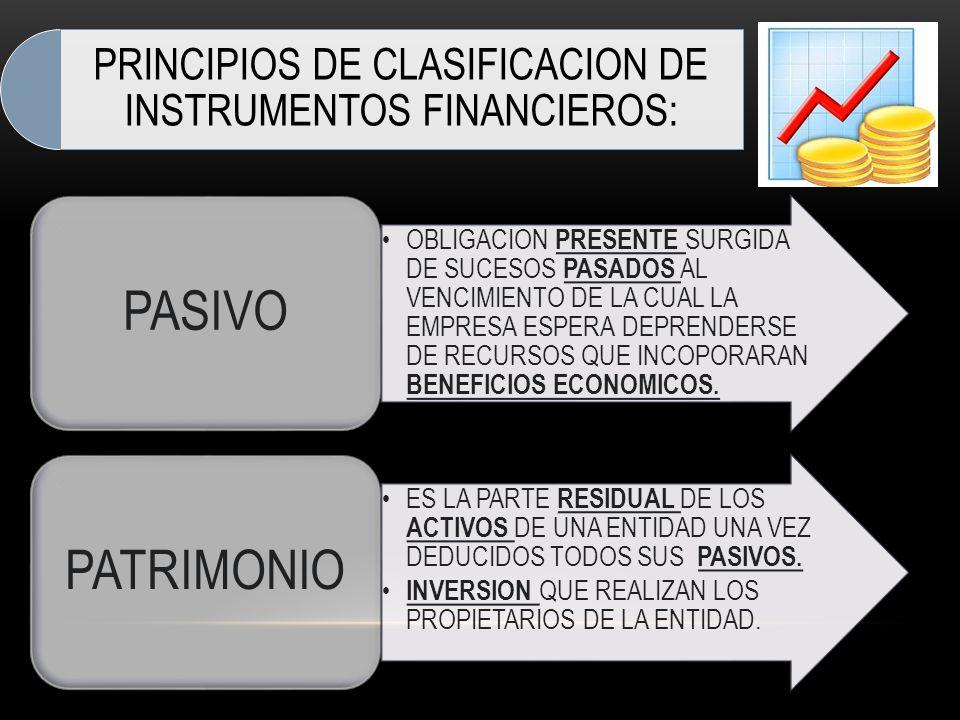 PRINCIPIOS DE CLASIFICACION DE INSTRUMENTOS FINANCIEROS: