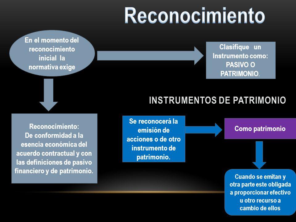 Reconocimiento INSTRUMENTOS DE PATRIMONIO