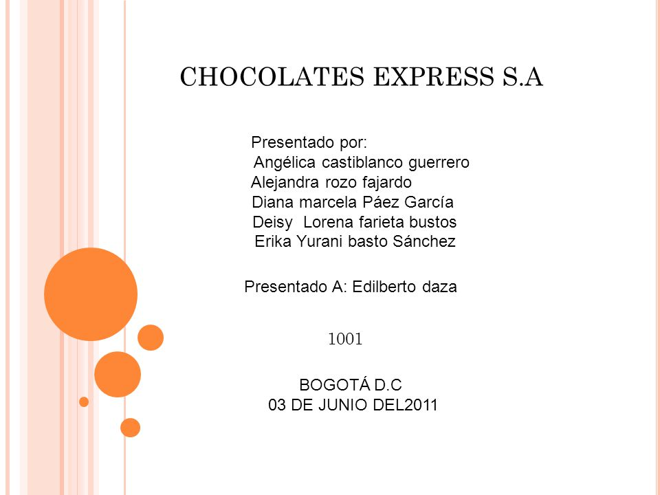 CHOCOLATES EXPRESS S.A Presentado por: Angélica castiblanco guerrero