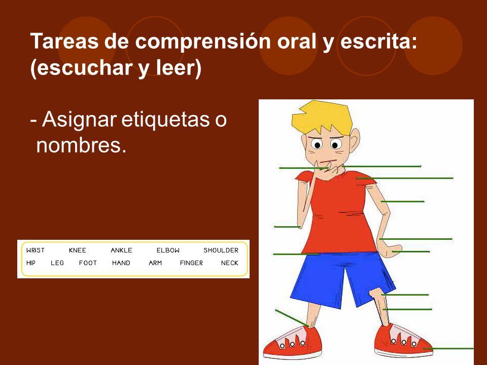 Tareas de comprensión oral y escrita: (escuchar y leer) - Asignar etiquetas o