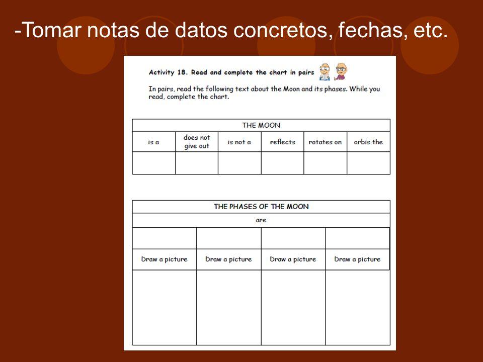 Tomar notas de datos concretos, fechas, etc.