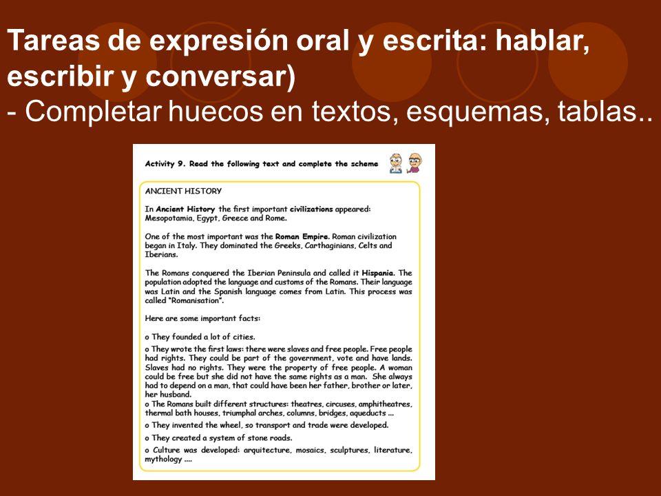 Tareas de expresión oral y escrita: hablar, escribir y conversar) - Completar huecos en textos, esquemas, tablas..
