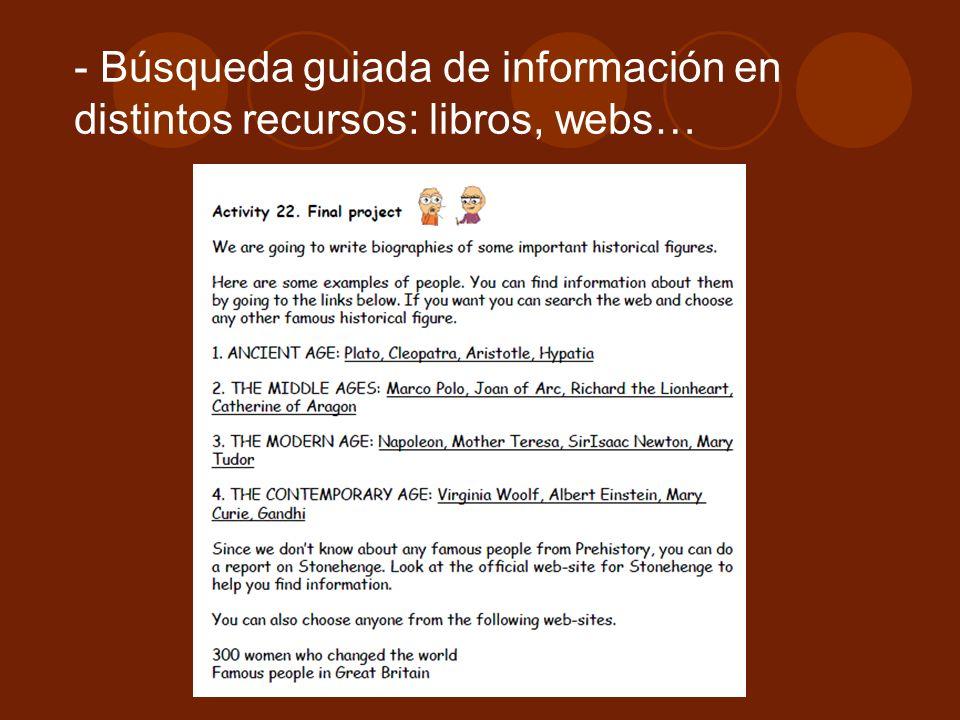 Búsqueda guiada de información en distintos recursos: libros, webs…