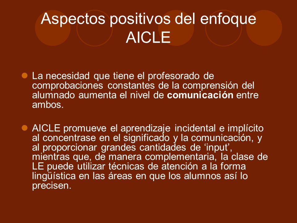 Aspectos positivos del enfoque AICLE