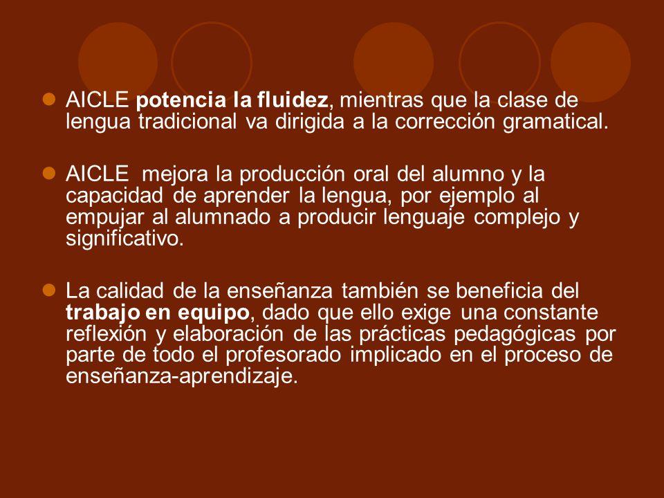 AICLE potencia la fluidez, mientras que la clase de lengua tradicional va dirigida a la corrección gramatical.