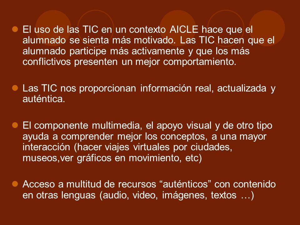 El uso de las TIC en un contexto AICLE hace que el alumnado se sienta más motivado. Las TIC hacen que el alumnado participe más activamente y que los más conflictivos presenten un mejor comportamiento.